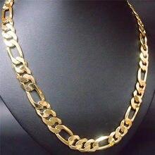 60cm masculino 24 k amarelo acabamento de ouro sólido figaro colar elo de corrente plana martelado largo 12mm 3/1