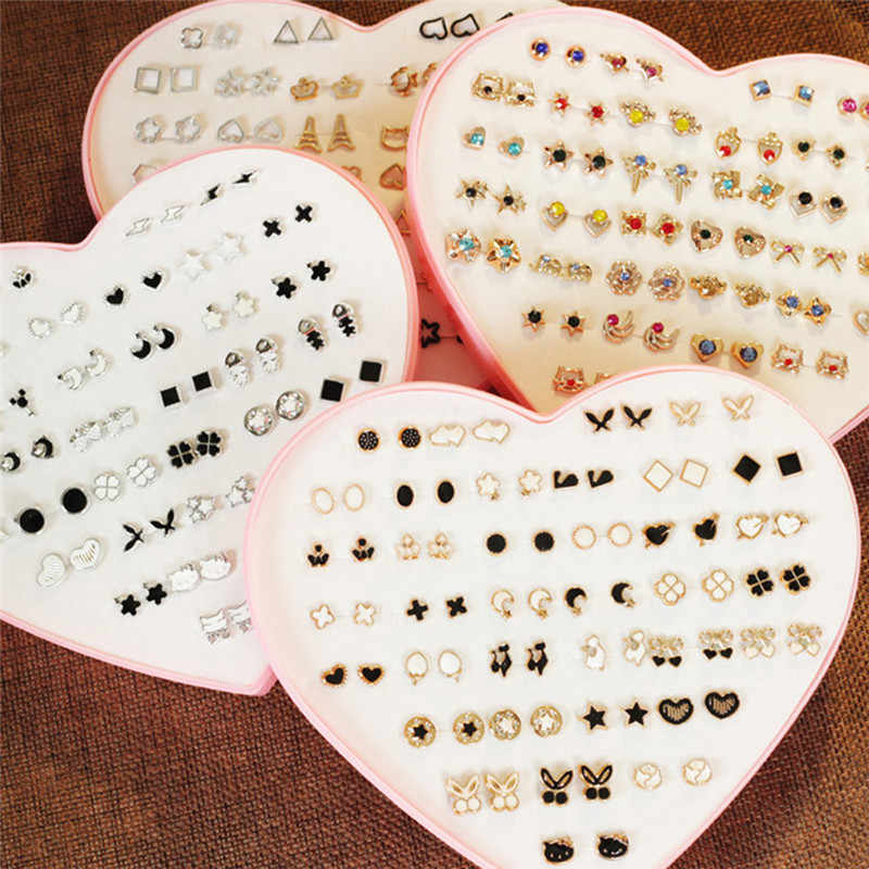 36 Pairs Pack Set Mixed Stud Earrings For Women Alloy Ear Studs Fashion Heart Flower Bow Cat Cute Earrings Jewelry Wholesale