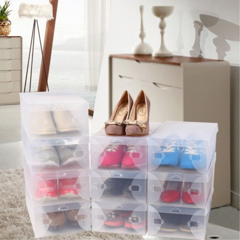 28 X 18 10 Cm Transpa Womens Stackable Crystal Clear Plastic Shoes Storage Bo 11pcs Lot Free Shipping In Bins From Home Garden