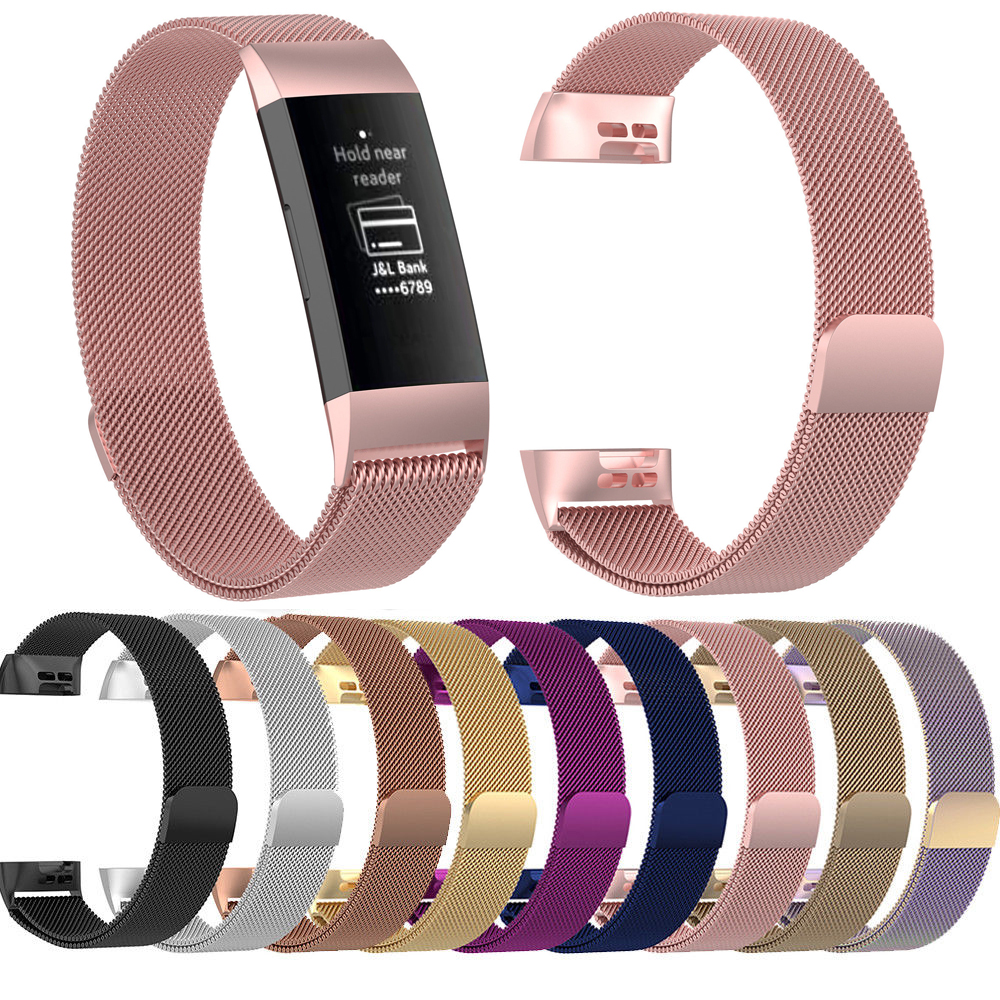 Essidi For Fitbit Charge 3 Smart Bracelet Strap Milanese Stainless Steel Fitness Tracker Band Replacement For