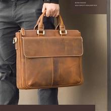 MAHEU Retro Style Designer Handbags For Men Genuine Leather Mens Handbag For 14 Inch Laptop