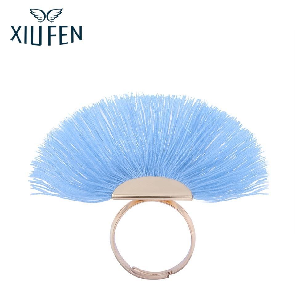 Sangdo Elegant Bohemian Ladies Tassel Fan Ring Dress Decoration Red Black Blue Finger Rings Fashion Newest Jewelry zk15