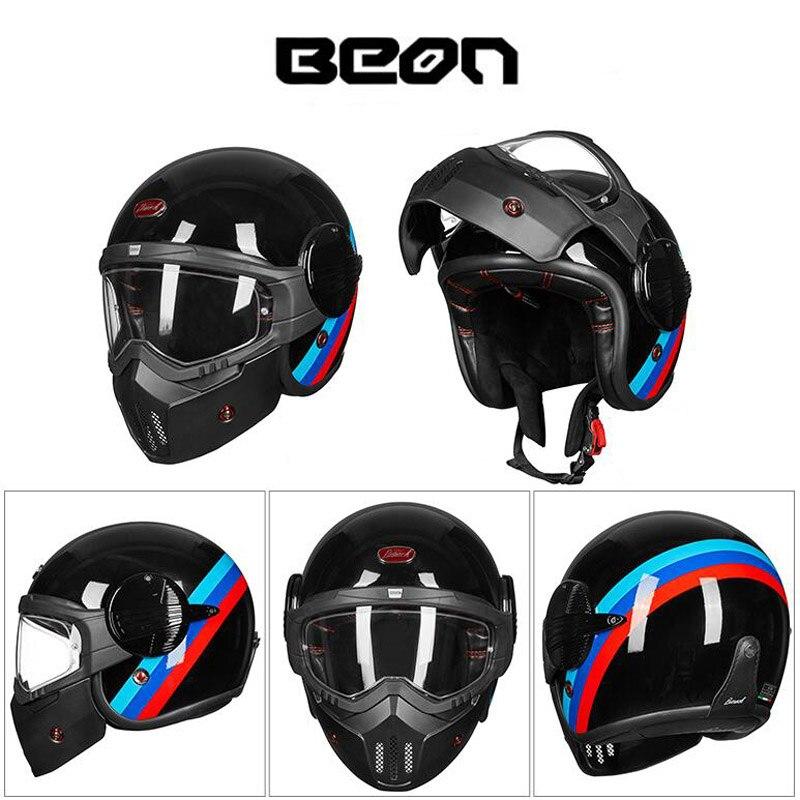 2019 nouvelle Certification ECE BEON casque de moto intégral modulaire Flip Up casques de moto en fibre de verre avec lunettes