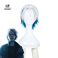 ROLECOS Movie Cosplay Wade Watts/Parzival Cosplay White Blue Mixed Color Short Hair Heat Resistant Synthetic Hair