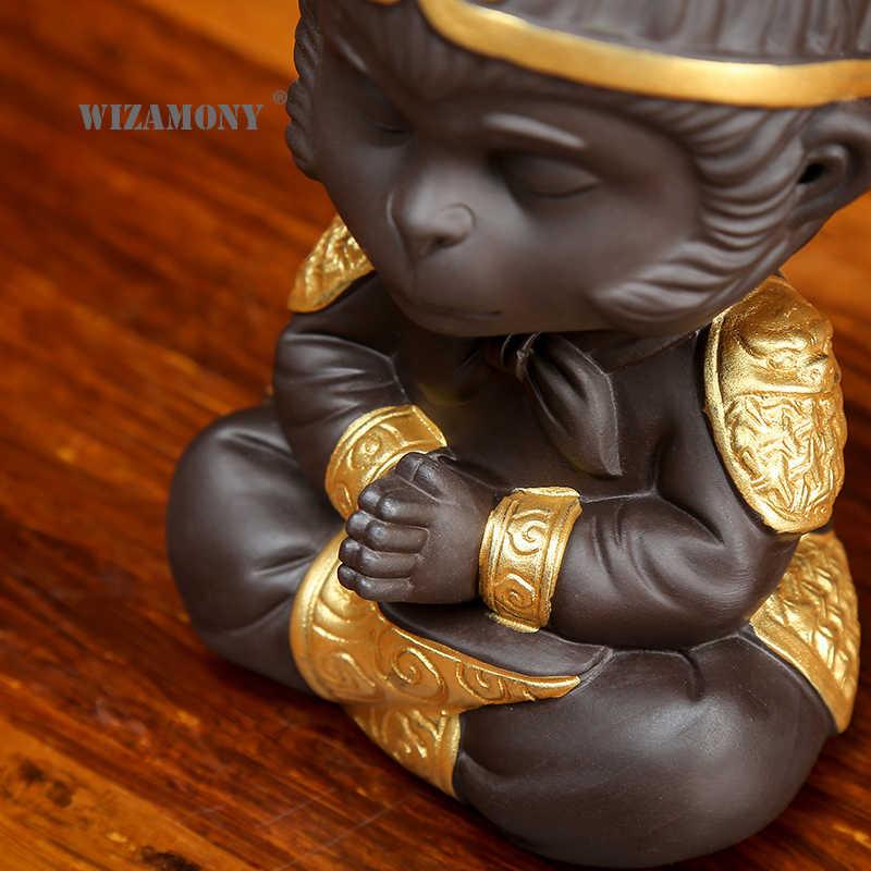 WIZAMONY Китайский фиолетовый глина кунг-фу чайный набор чай ПЭТ Обезьяна Король Чайные Аксессуары для Пуэр Улун чай дома деко