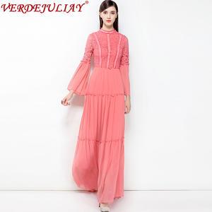045b914891f VERDEJULIAY Woman 2018 Summer Lace Female Long Dress