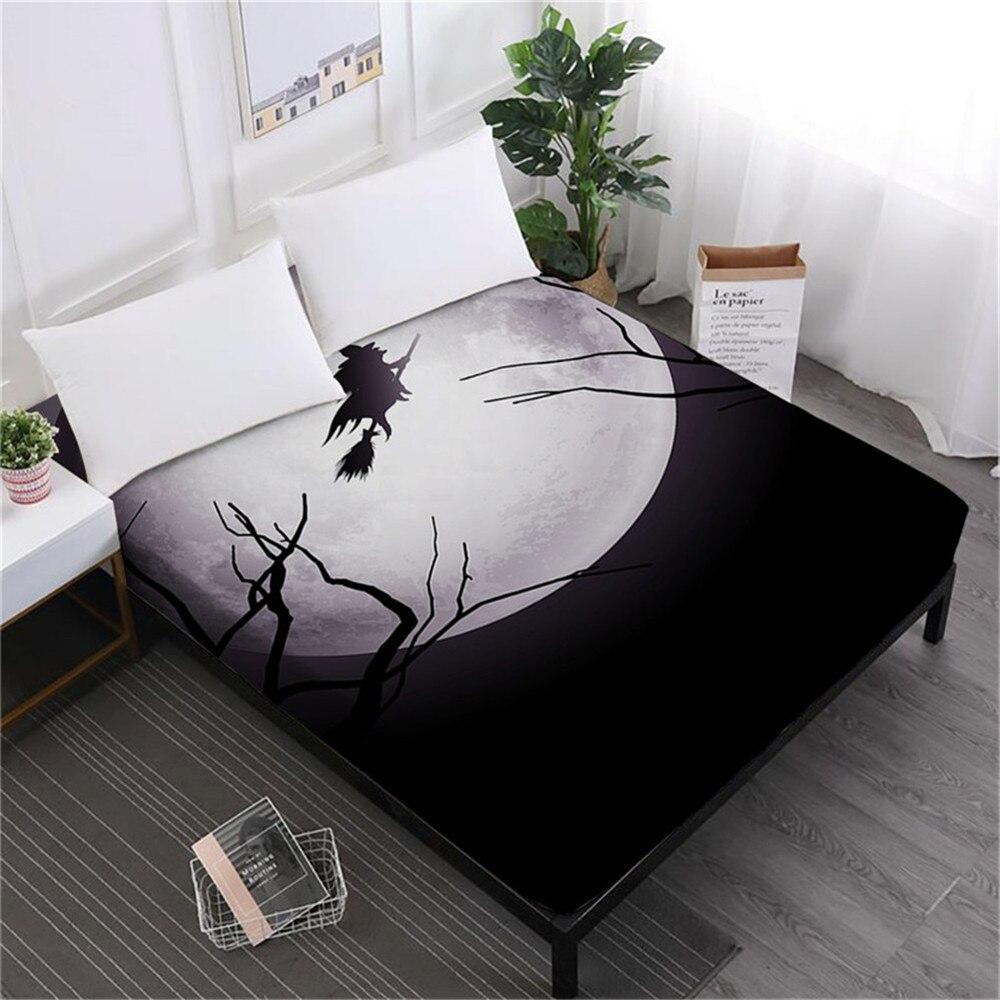 Halloween 3D Moon Bed Sheet Cartoon Witch Cat Print Fitted King Queen Bedding Deep Pocket Girls Bedclothes D30
