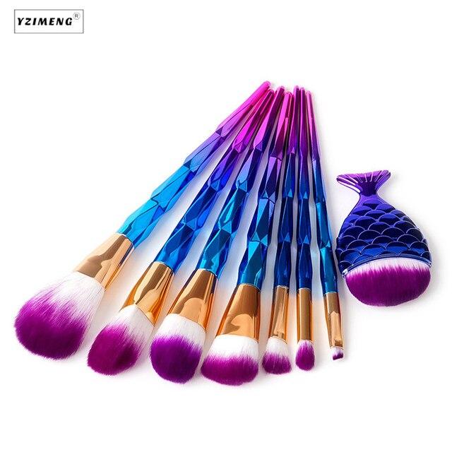 7Pcs Unicorn Makeup Brushes Thread Rainbow Professional Make Up Brush Mermaid Powder Foundation Eyebrow Eye Contour Blush Brush