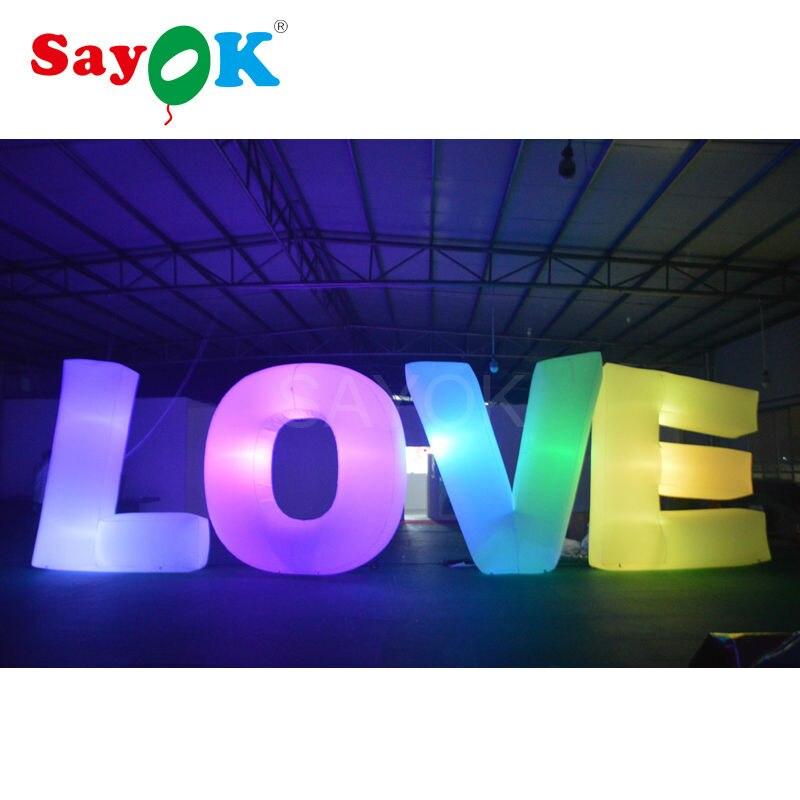 4pcs letter (love) giant inflatable led letter romantic wedding party event Stage decoration