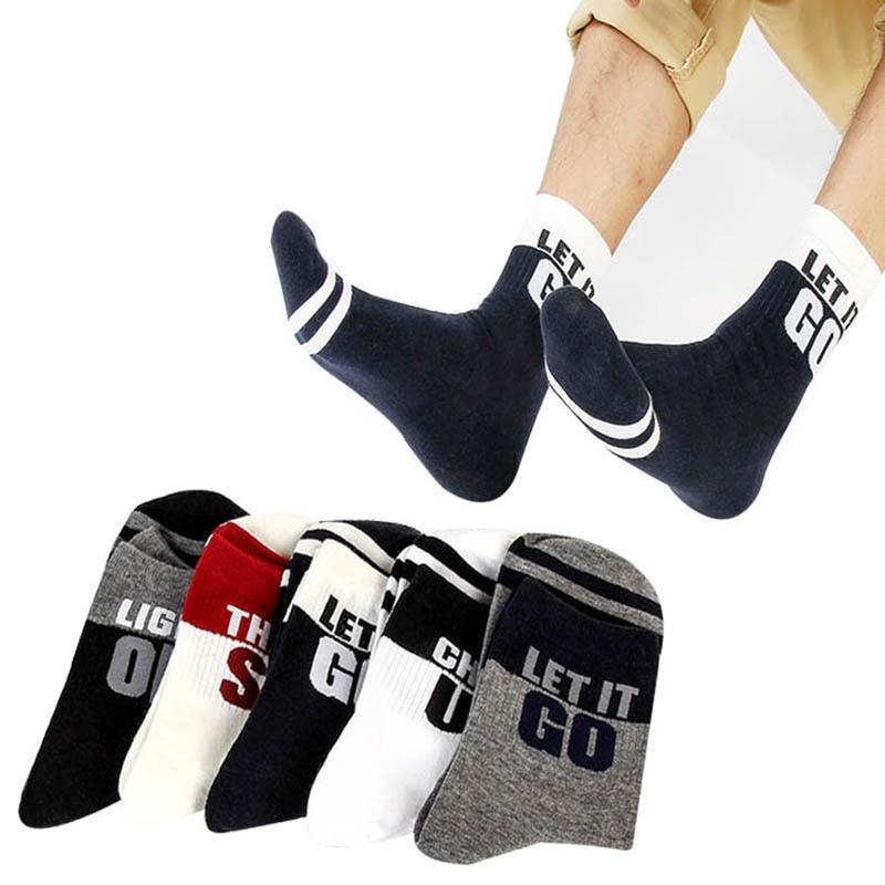 5pairs Men Trendy Brand Fashion Short Socks Meias Breathable Deodorant Spring Autumn Male Cotton Sock Funny Individual Man Socks