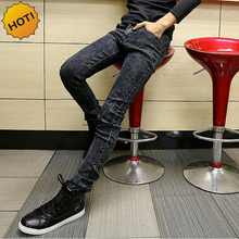 Fashion Slim Fit Snow Grey Stetch Classic Designers Pencil Pants Mens Hip Hop Streetwear Boys Teenagers Jeans Men 28-34 Bottoms