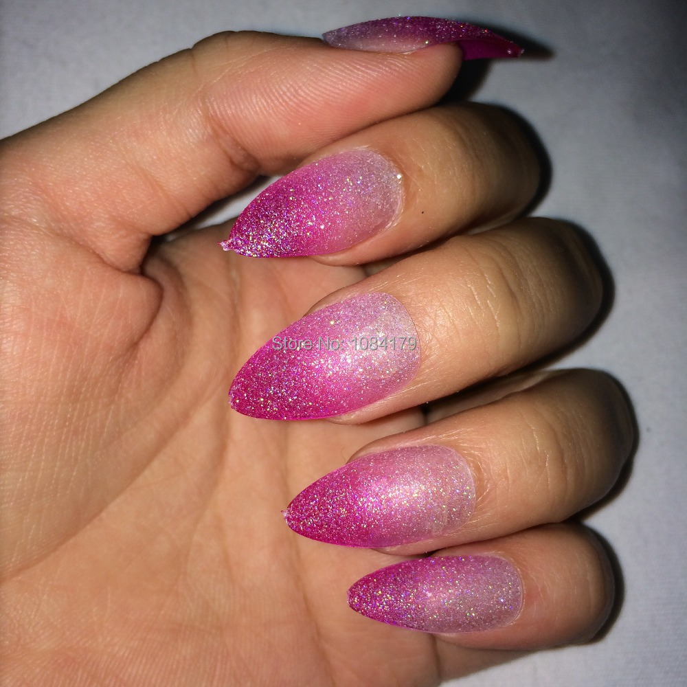 New 24 X Pink White Glitter Color Talon Design False Nail Art Tips