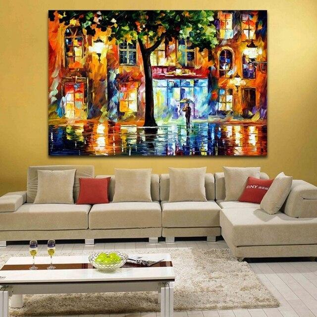 100% Handgemalte Moderne Farbpalette Malerei Licht Haus In Der Straße  Leinwand Wandkunst Für Wohnzimmer Schlafzimmer