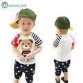2016 Лето стиль мальчик одежда звезды наборы короткая майка + брюки 2 шт. медведь Мультфильм детская одежда костюм новорожденный ребенок устанавливает экипировка