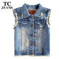 TC 4XL 3XL 2XL XL High Qualtiy Womens Denim Vests New 2015 Autumn Sleeveless Ripped Holes Button Fashion Jeans Vest Tops 1WT0783