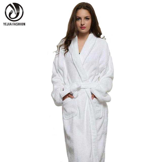 YEJIA FASHION Long Unisex Winter Warm Dressing Gown Women And Men White Robe  Cotton Twist Towel 84528ab82