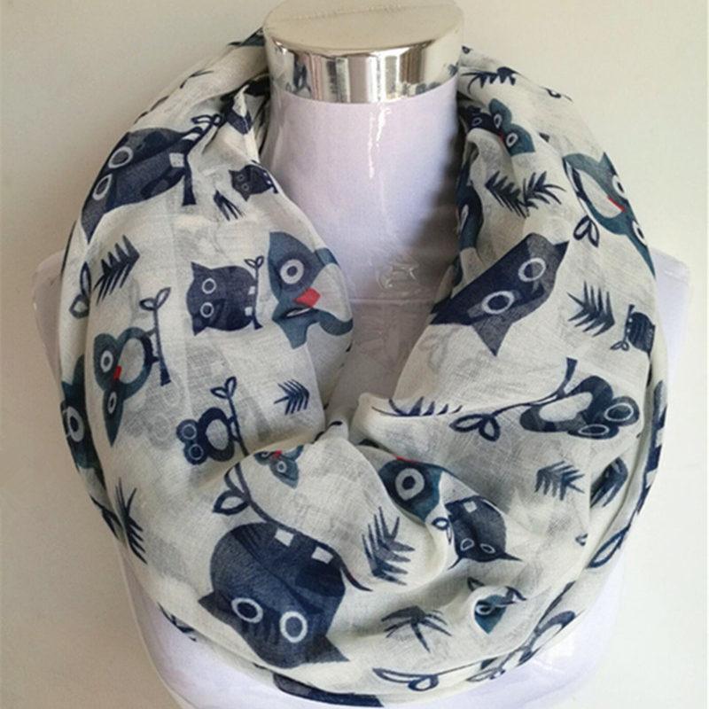 Free Shipping 2016 New Fashion Cute Animal Black White Blue Cartoon Owl Print Infinity Scarf Snood Shawls For Ladies