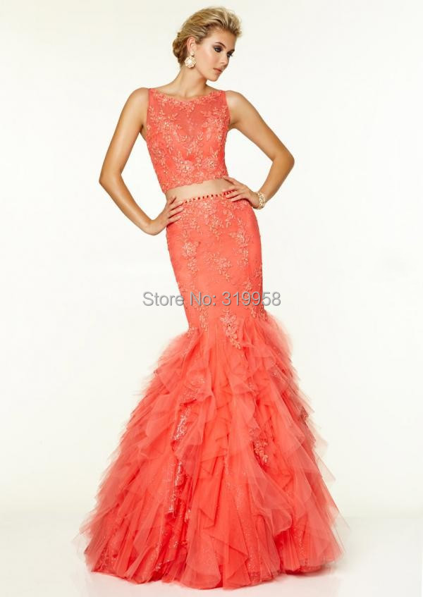 Online Shop Two Pieces Elegant Coral Long Mermaid Prom Dresses ...