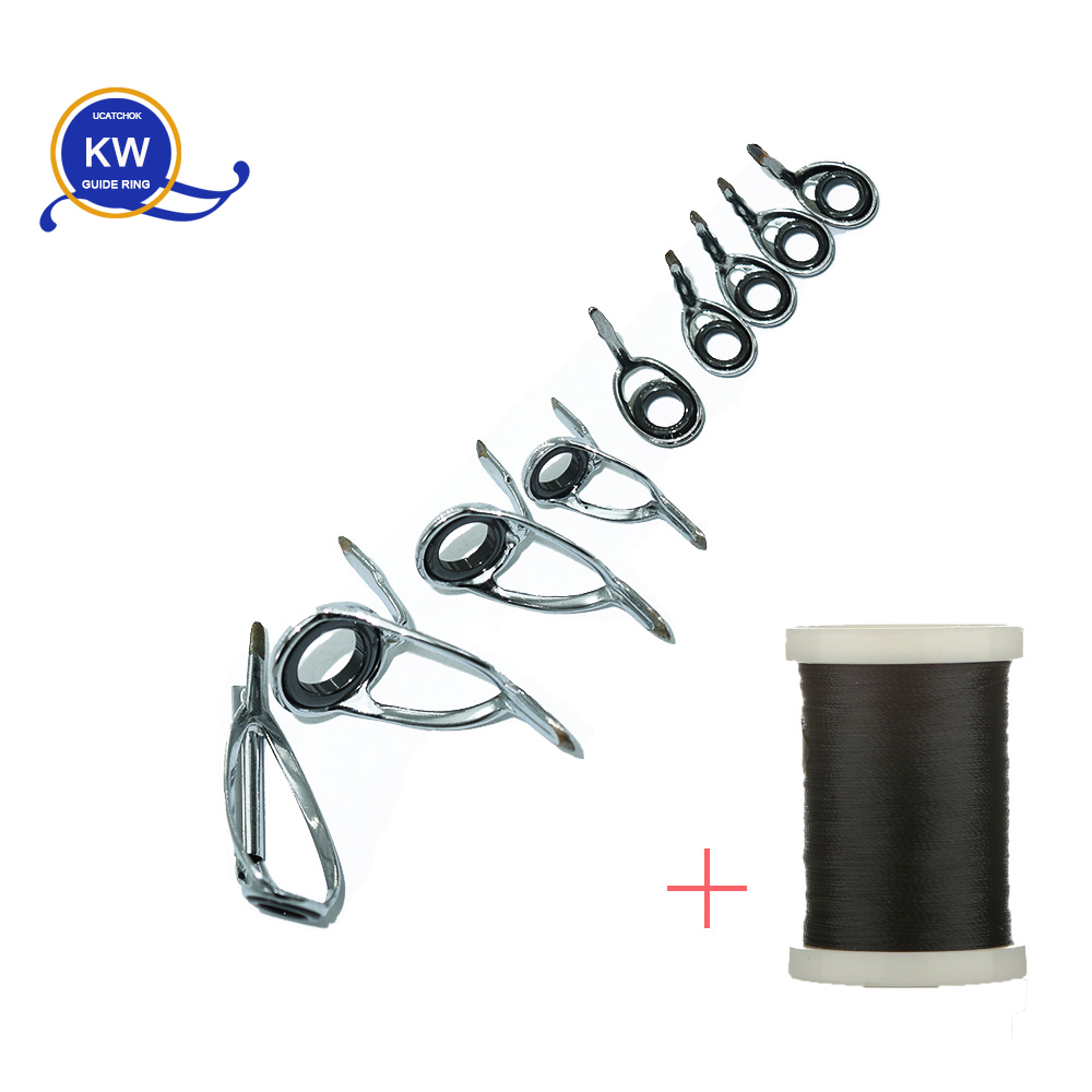 9pcs/Kit Baitcasting Rod SiC Ring Stainless Steel Guide Ring DIY Rod Guide Ring Accessory Ring Rod Building Component Accessory