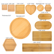 Деревянные бамбуковые круглые квадратные миски, тарелки для горшки для суккулентов, подносы, подставка, садовый декор, домашнее украшение, поделки, 12 видов, распродажа
