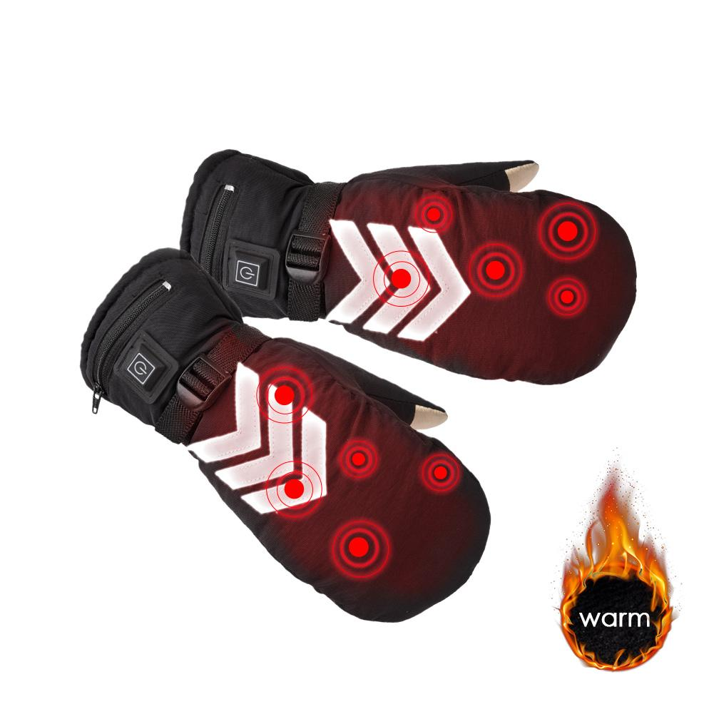 1 Pair Rechargeable Electric Heated Gloves Temperature Adjustable Waterproof Reflective Back Touch Screen Motorcycle for Unisex стоимость