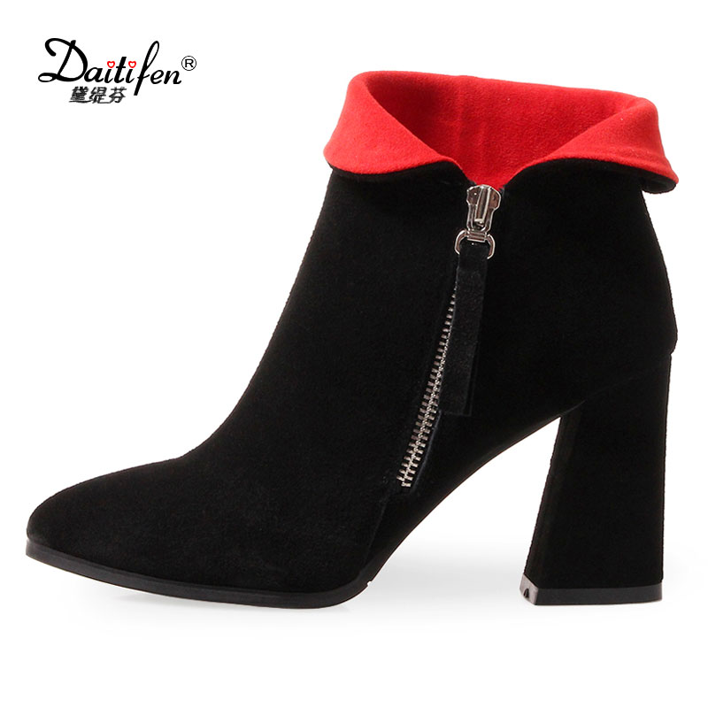 Daitifen 2018 NEW arrival fashion Retro thick heel short Boots Cow Suede High heels women ankle boots pointed Toe women shoes zorssar brands 2018 new arrival fashion women shoes thick heel zipper ankle chelsea boots square toe high heels womens boots