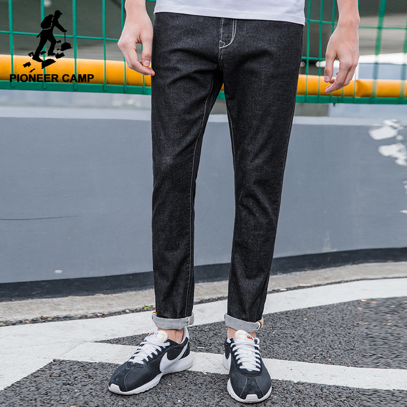 Pioneer Camp New black jeans men brand clothing simple solid denim pants male top quality stretch denim trousers ANZ703106 pioneer camp new summer thin jeans men brand clothing casual straight denim pants male top quality denim trousers anz703095