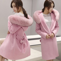 New Wool Coat Fashion Winter Fur collar Warm Woolen Coat plus size Long Section Women Slim Pure Color Coat WC012