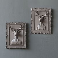 resin vintage wall decorations for home or bar white emboss deer couple frame living room ornaments