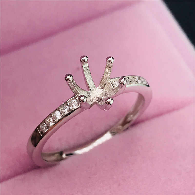 six claws simple round shape rings basis S925 silver ring base shank prong setting stone inlaid jewelry fashion DIY women nice