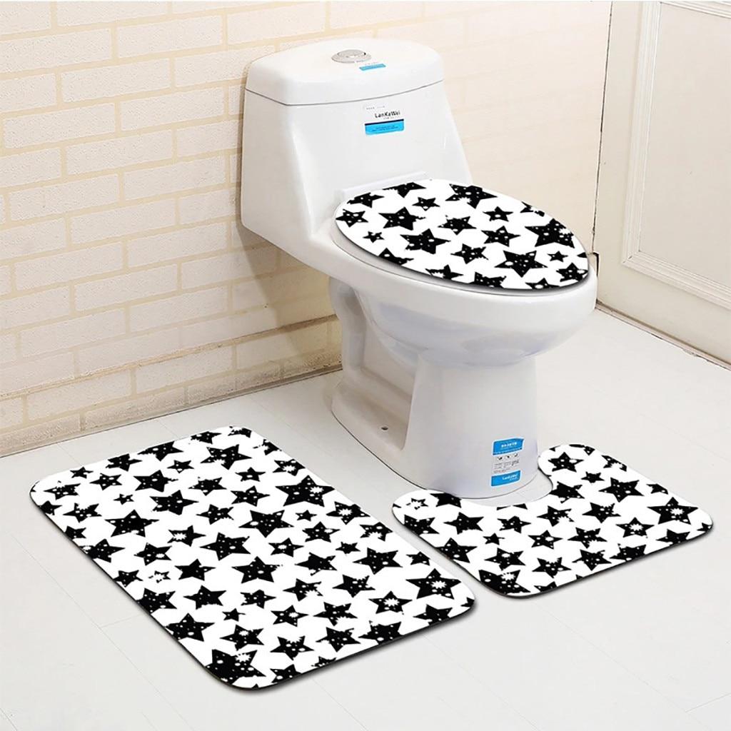 3pcs Bathroom Bath Mat Set Toilet Rugs