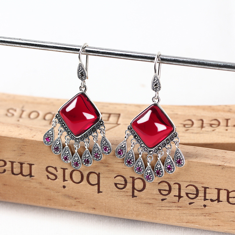Long Hoop Tassel Drop Earrings 925 Sterling Silver Bohemia Ethnic Red Rubellite Fine Jewelry 3.37cm*1.8cm Women Fashion Catkins