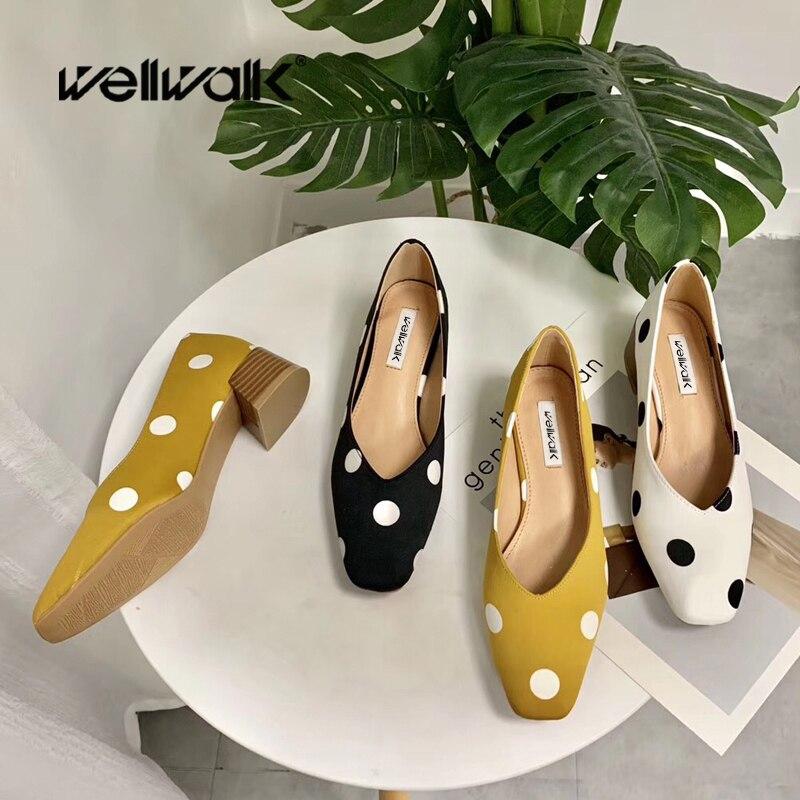 Wellwalk Polka Dot Pumps Women Block Heel Shoes Square Toe Ladies Summer Office Career Shoes Female Slip On Moccasin Comfortable