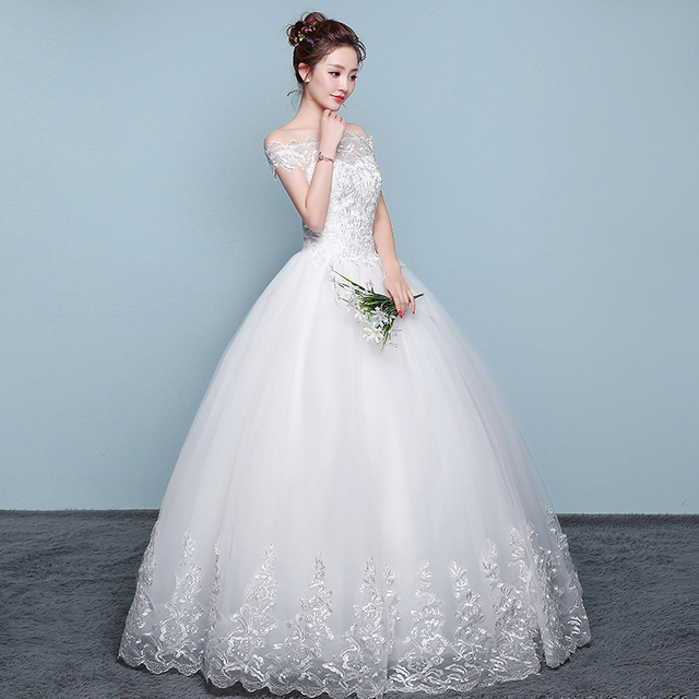 New Wedding Dress Lace Boat Neck Ball Gown Off The Shoulder Princess Plus Size Wedding Dresses 3