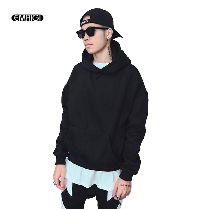 Men Fashion Casual High Street Fashion Hooded Sweatshirt Male Loose Long Sleeve Outerwear Pullover Hoodie Jacket