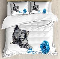 Cat Duvet Cover Set Playful Baby Kitten Ball of Yarn Furry Animal Domestic Feline Kids Pets Artwork Bedding Set Pillow Shams