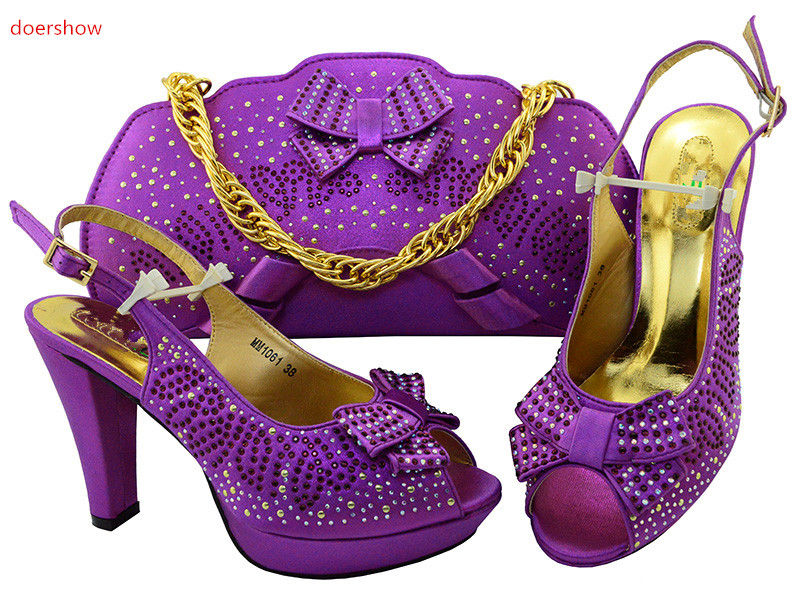 doershow Latest African purple Shoes And Bag Set For Party High Quality Italian Ahoes And Bags To Match women!IU1-22 doershow african shoes and bags fashion italian matching shoes and bag set nigerian high heels for wedding dress puw1 19