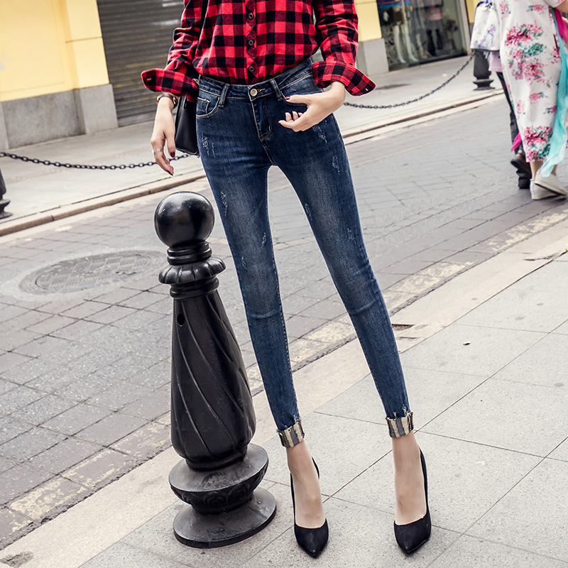 New Fashion Stretch Cuffs Pencil Jeans Woman High Waist Ankle Length Slim Fit Skinny Women Slim Denim Pants L918 spring new women jeans high waist stretch ankle length slim pencil pants fashion female jeans 3 color plus size jeans femme 2017