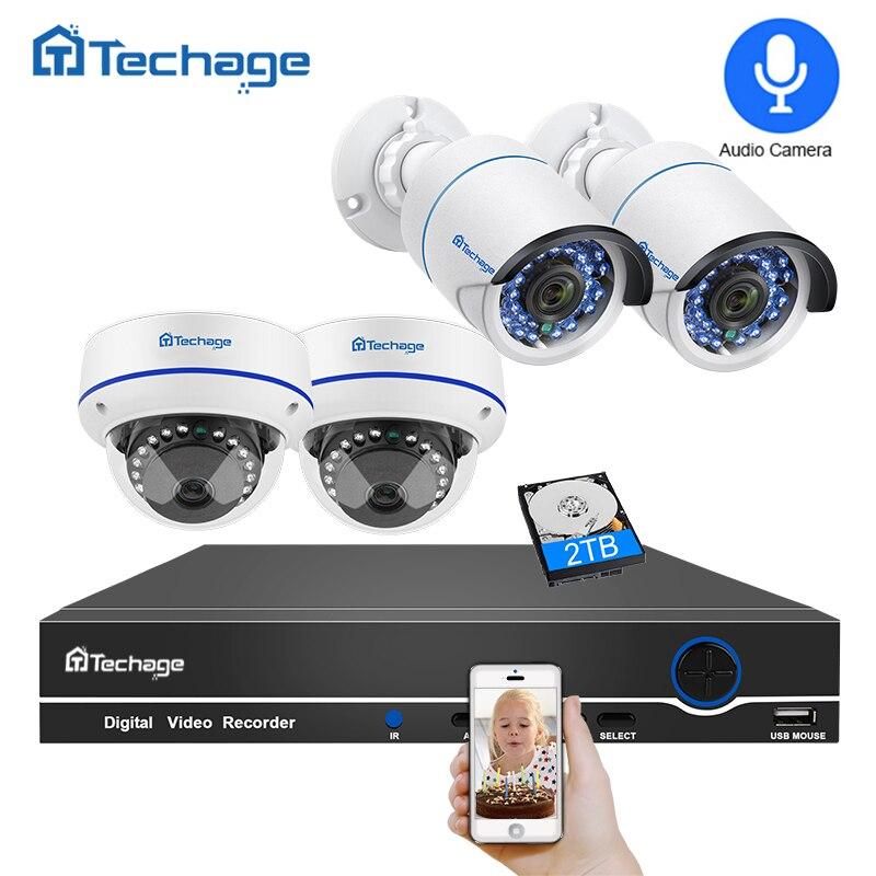 Techage 8CH POE CCTV Système 1080 p NVR Dôme Intérieur Extérieur 2MP Enregistrement Audio IP Caméra IR P2P Vidéo de Sécurité kit de Surveillance