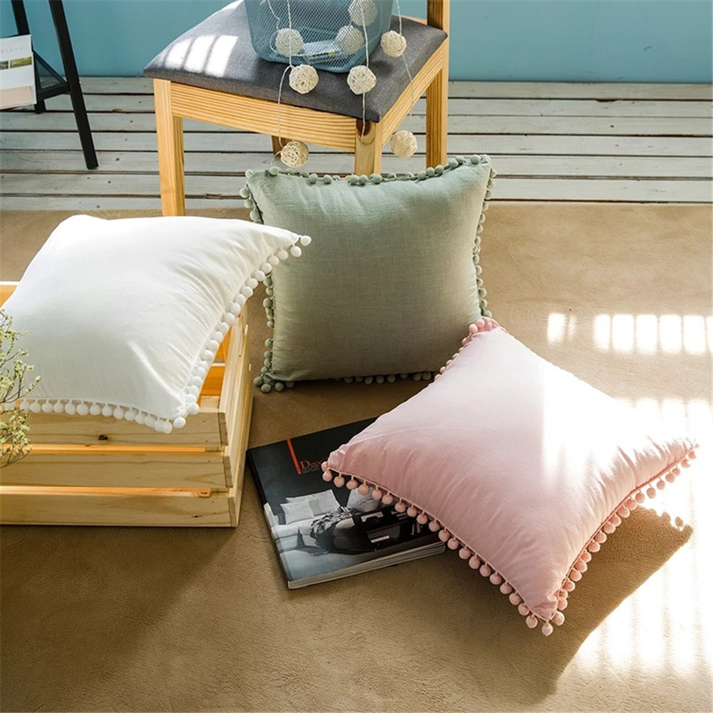 Cotton Sweet Style Cushion Cover Super Soft Pom Tassel Dot Pillow Cover Wedding Gift Square Home Decor Pillowcase 45*45 Cm