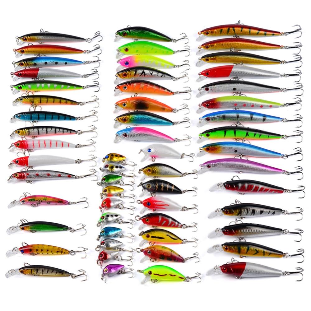 YINGTOUMAN 56 pièces 374.48g appâts artificiels classiques leurres Set Wobblers de pêche leurre pour pêche méné poisson leurres lumineux pêche