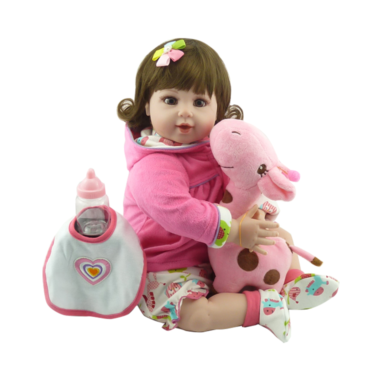 Doll house20 popular handmade lovely Realistic Adorable baby girl with one little deer plush toy silicone