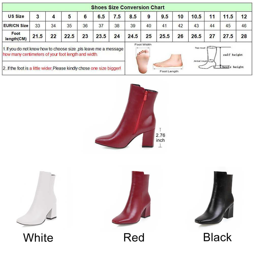 Meotina/зимние ботинки с квадратным носком женские ботильоны ботинки на толстом высоком каблуке Женская Осенняя обувь на молнии белый, черный, красный цвет, размер 42, 43