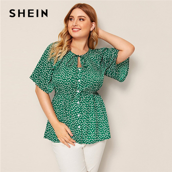 SHEIN Plus Size Green Daisy Floral Button Front Knot Peplum Top Blouse Women Round Neck Flare Sleeve Boho Summer Plus Blouses