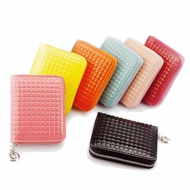 2017 New women Lovely patent leather coin purse grid zipper coin bag , Free shipping