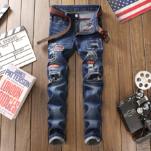 2019 distressed brand Mid Men Casual Biker Denim Jeans Stretch Denim Pants Solid Slim Fit ripped Jeans Male Street Skinny Pant new brand designer knee ripped biker jeans men distressed moto denim joggers washed pleated leg yellow line decorate jeans pants