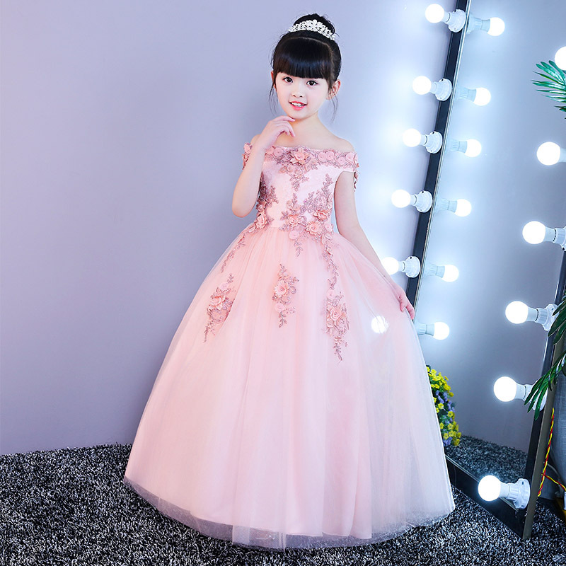 High quality Girls Pink Wedding Dresses Lace Party Tulle Princess Birthday Dress for Baby Girl Clothes vestidos infantis high quality lace girl dresses children dress party summer princess baby girl wedding dress birthday big bow pink for 100 160