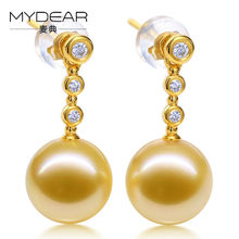 MYDEAR Fine Pearl Jewelry Real Gold Drop Earrings 8-9mm Natural Golden Southsea Pearls Earrings Fashion Jewelry,New Arrival