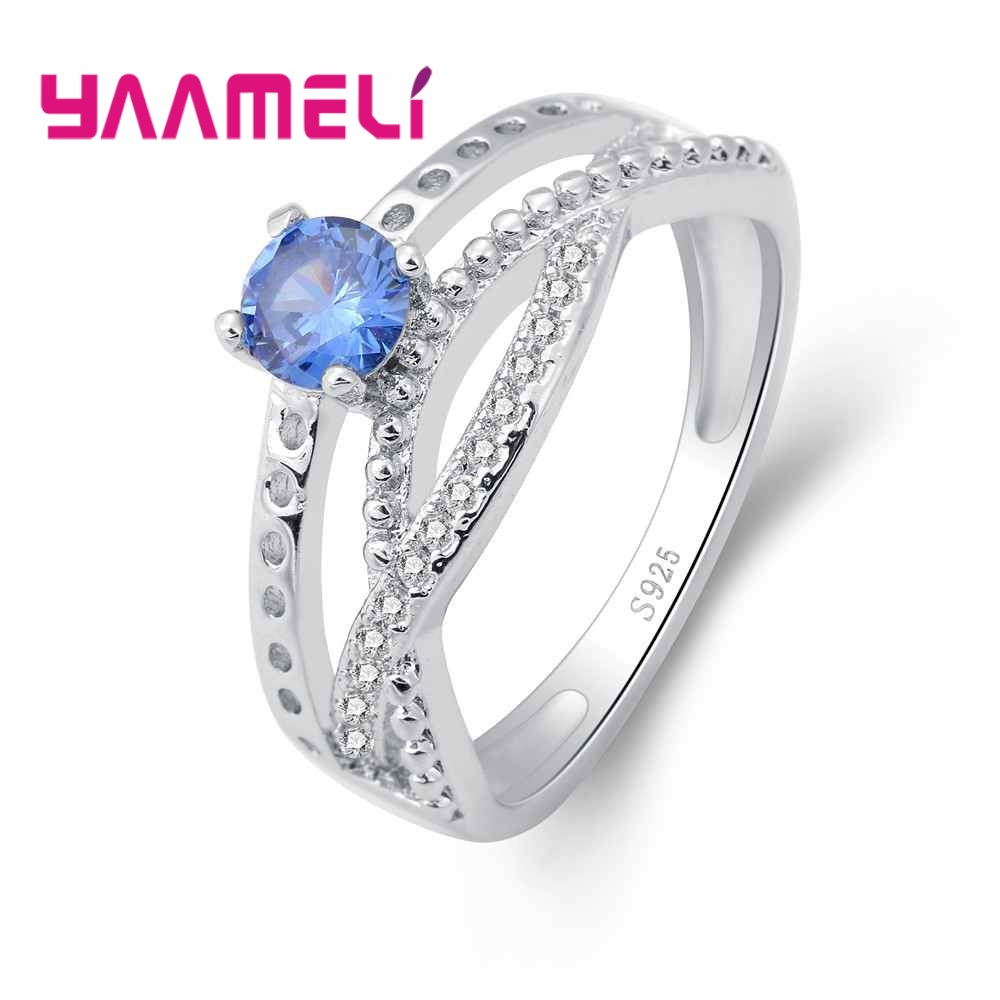YAAMELI 925 Sterling Silver Women Band Rings With Blue Cubic Zircons Crossed Design Top Quality Daily Finger Ring Accessories