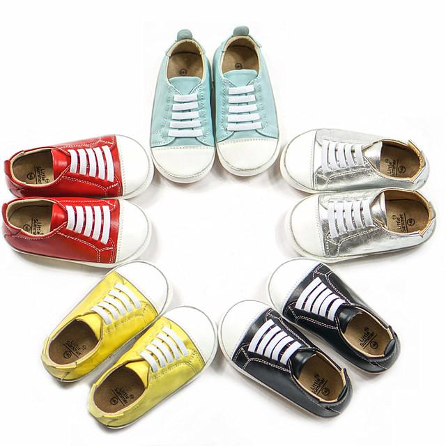 Cuero Genuino más nuevo Primeros Caminante zapatos de Bebé Niño zapatos de fondo Plano mocasines antideslizantes Para bebé 1-6 T zapatos de un solo